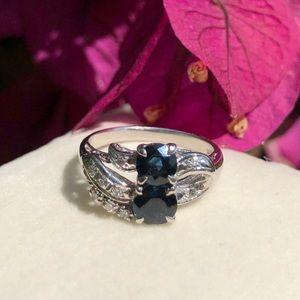 14K White Gold Sapphire & Diamonds Ring